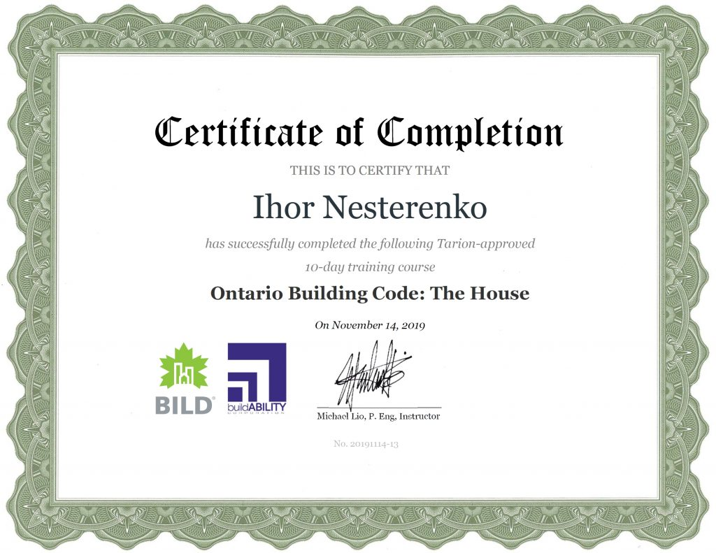 Certificate - Ontario Building Code The House