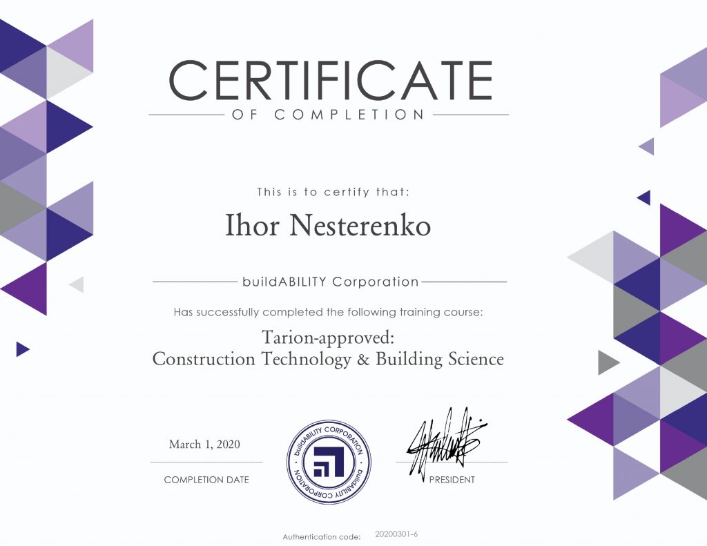 Certificate - Tarion Approved Construction Technology Buidling Science