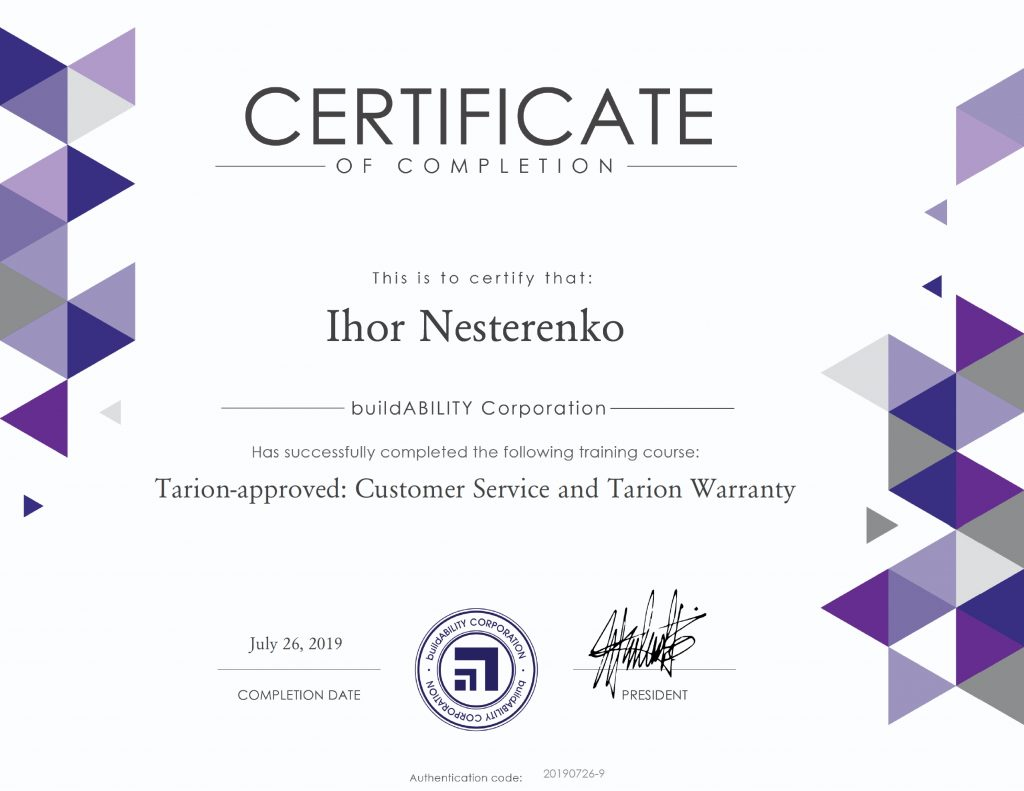 Certificate - Tarion Approved Customer Service and Tarion Warranty