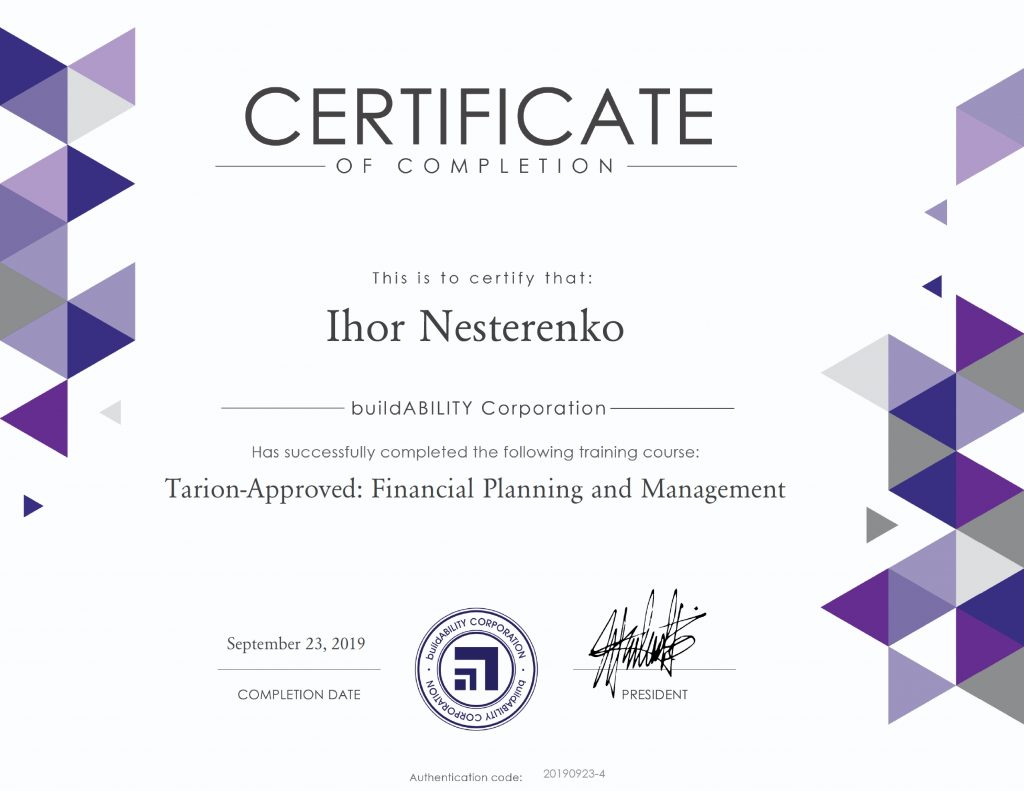 Certificate - Tarion Approved Financial Planning and Management
